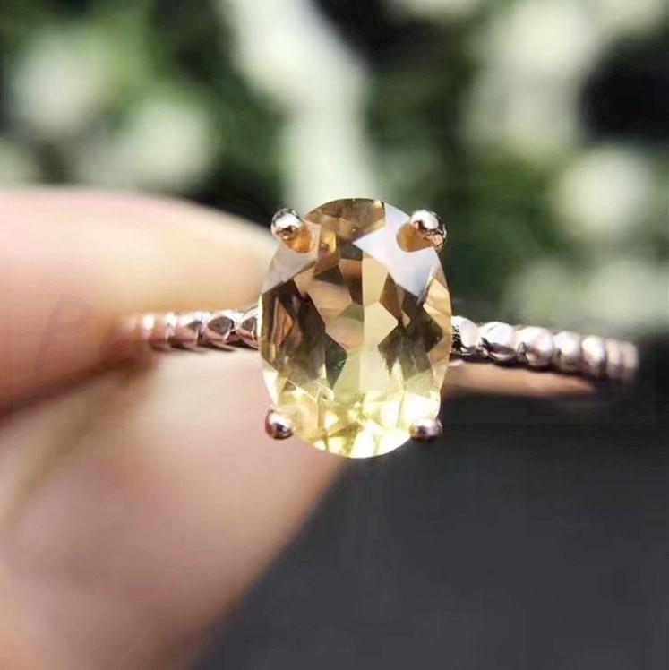 Кольцо с топазом Настоящее натуральное цитрин 925 серебро ювелирные изделия оптом женское кольцо 1.3ct драгоценный камень# H95805