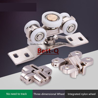 Free shipping folding door fittings sliding door track lifting wheel sliding door pulley rotation lifting rail pulley