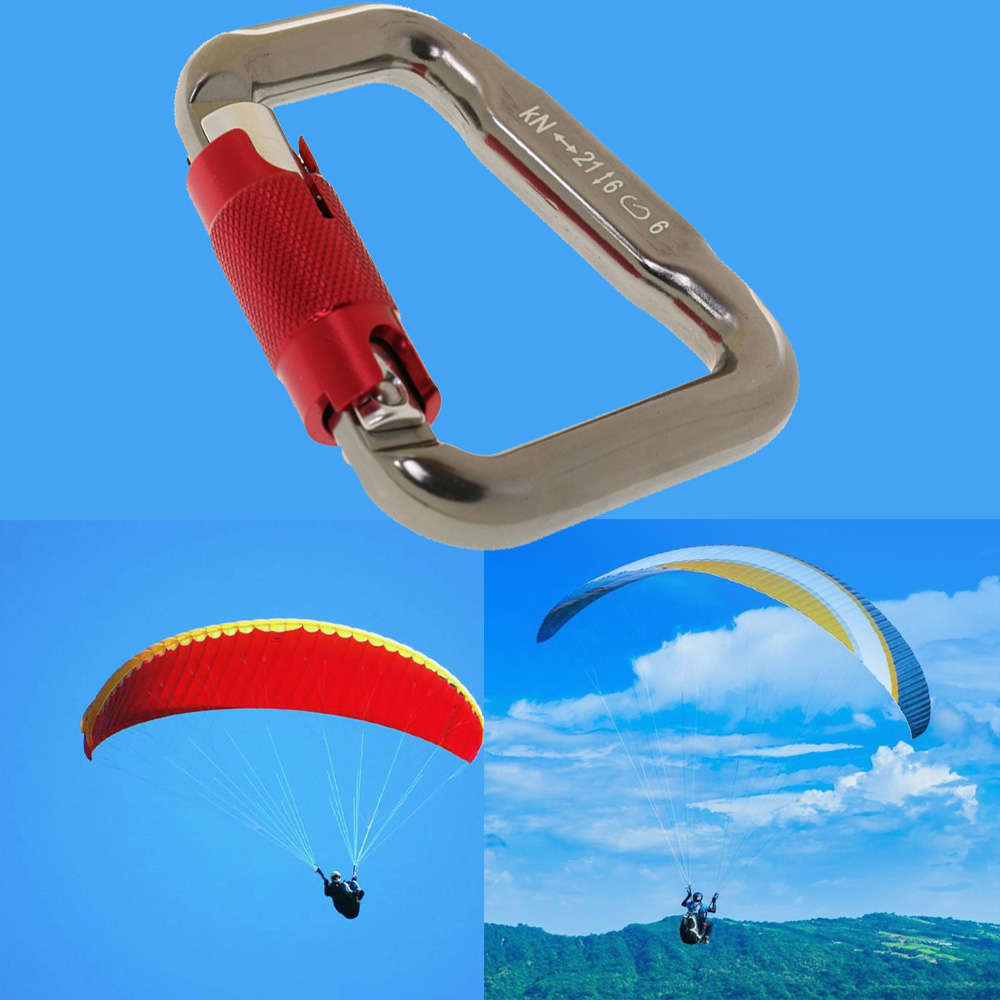 Alloy Paragliding Paraglider Carabiner Paragliding Rectangular Reserve Parachute Links Carabiners Twist Auto Locking Hook