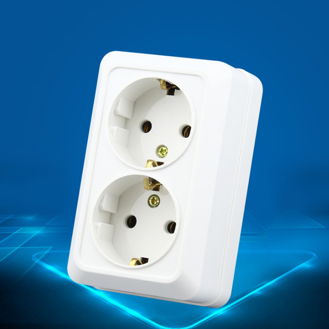 High Quality Wall Power Dual Socket Plug Grounded, 16A EU Standard ...