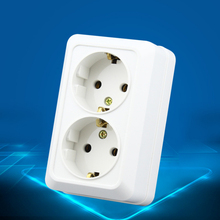 High Quality Wall Power Dual Socket Plug Grounded, 16A EU Standard Electrical Double Outlet  Hot Sell