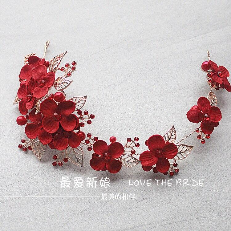 crvena frizura nova retro legura simulacija kosa cvijet ukosnica - Modni nakit - Foto 4