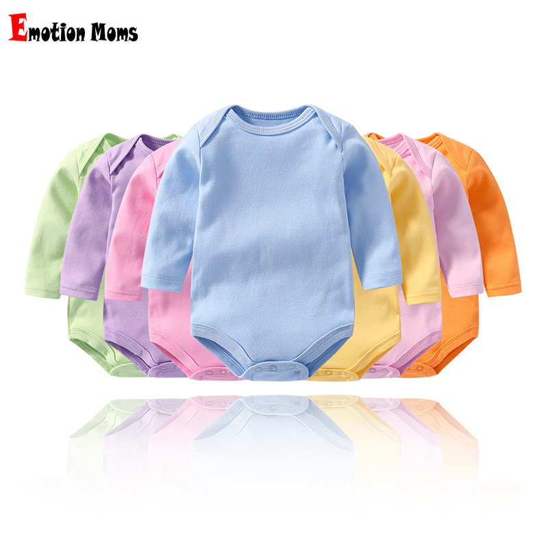 Emotion Moms Cotton Baby Rompers Spring Newborn Grils Boys Clothes For 0-2Y Long Sleeve Jumpsuit Kids Outfits  2pcs Per Lot