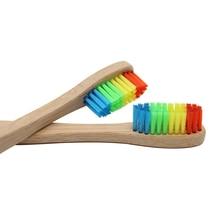 8 PCS Colorful Bamboo Toothbrush Novelty Rainbow Wood Teeth Brush soft-bristle Bamboo Fibre Wooden Handle