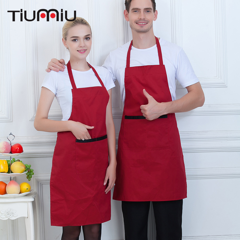 Black Red Hanging Neck Chef Aprons Wholesale Women Men Kitchen Hotel Coffee Shop Bakery Chef Waiter Cleaning Work Wear Aprons