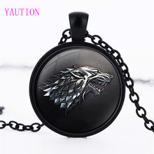 3/Warna Game of Thrones Kalung Liontin Perhiasan Gothic House of Stark Serigala Hitam Kacamata Pendant Kalung Sweater Rantai hadiah(China)