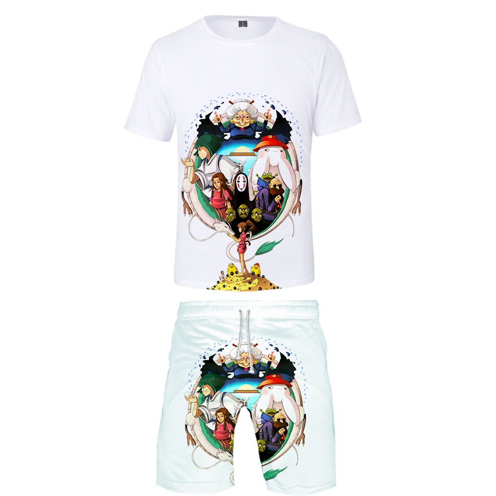 Hot Brand Man Fashion T Shirt Sets Spirited Away T Shirt And Shorts Summer Cartoon 3D Print Boy Cool Sets