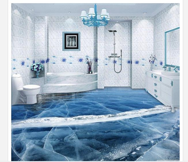 Online get cheap beautiful wallpapers for Bathroom floor mural