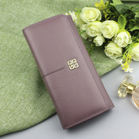 cbb21d8e2 Fashion Genuine Leather Wallets Women S Wallet Long Coin Purse Ladies Solid  Hasp Leather Wallet Female