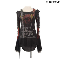 Gothic Cardigan Womens cotton black T Shirt Top Fashion Condole belt hole Visual Kei Printed T shirt S XXL Punk Rave T 221