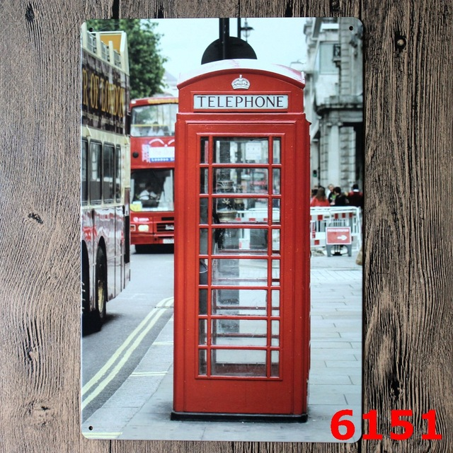 London telephone booth Vintage Home Decor Tin Sign For Wall Decor ...