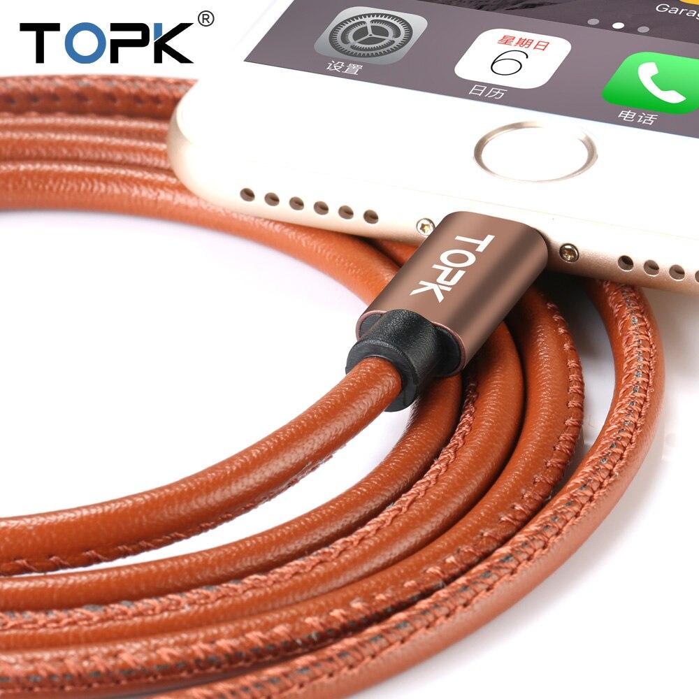 Topk Upgraded Premium Leather Braided Aluminum Alloy Fast Charging Phone USB Cable for iPhone 7 6 6s Plus 5s 5 iPadmini