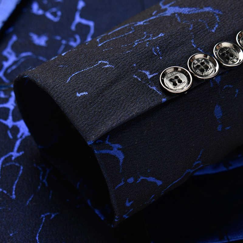 秀羅 3XL カジュアル男性のスーツのジャケット、黒ワイン赤紺スリムフィット男性トップクラシックタキシード男性花のブレザージャケット 2019New