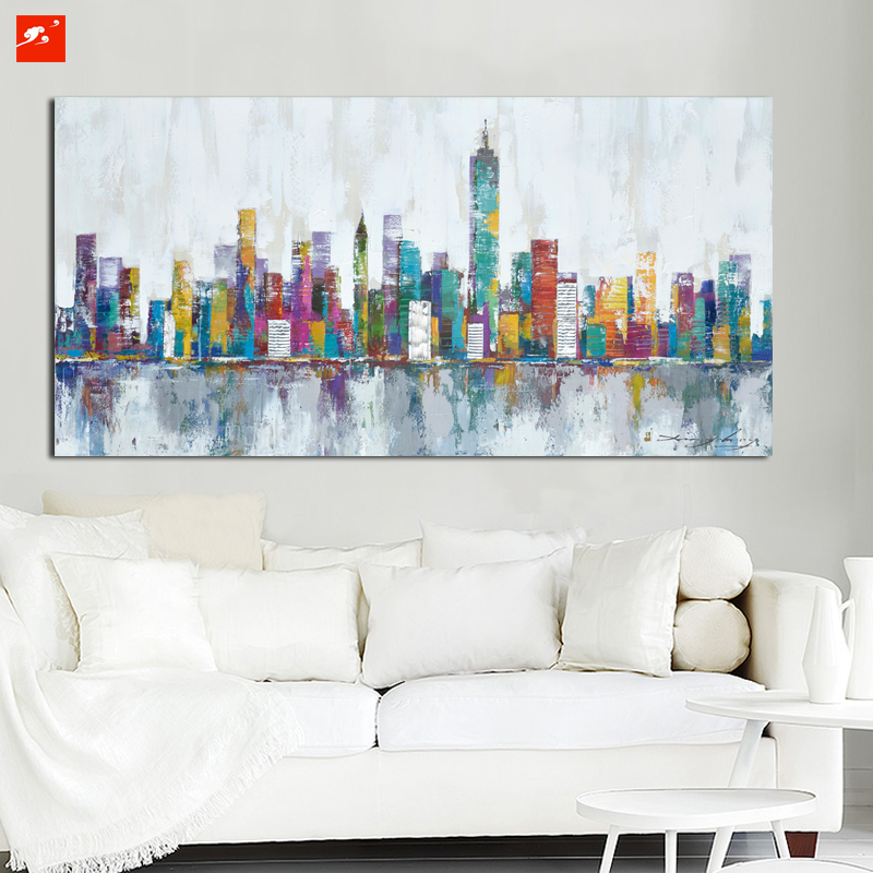 2016 New York Skyline Cityscape Architecture Abstract Wall Art Oil Painting  On Canvas Print Home Room Decoration Industrial In Painting U0026 Calligraphy  From ...