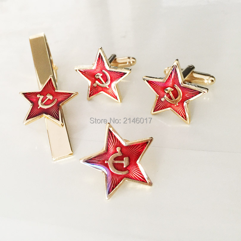 Communism Soviet Union Ussr Cuff Link and Tie Clips Souvenir Lapel Pins Badge Russia Red Star Hammer Sickle Cufflinks Cold War