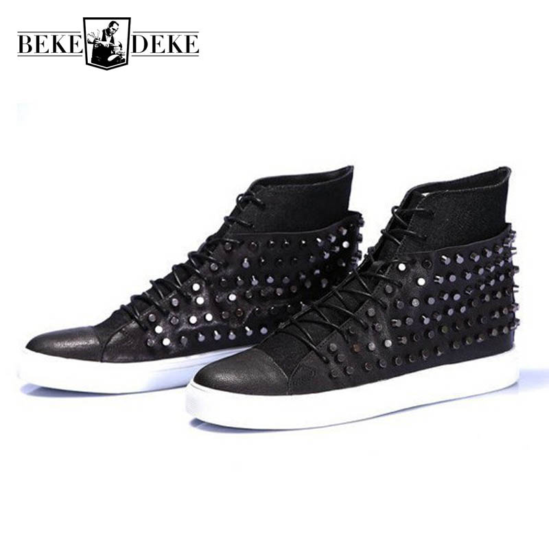Personality Mens High Top Casual Shoes Rivet Punk Ankle Boots High Quality Genuine Leather Man Footwear Rock Stage Show Botas shiny slim black gold red flats shoes mens casual shoes genuine leather mens outdoor shoes ankle boots