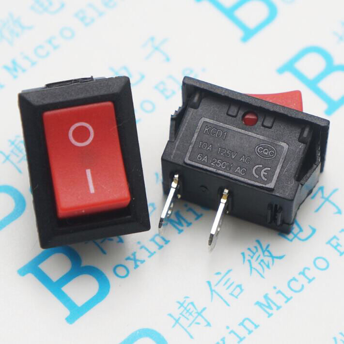 20PCS/Lot KCD1-101 AC <font><b>6A</b></font> <font><b>250V</b></font> 2 Pin ON/OFF I/O SPST Snap in Mini Red Button Boat Rocker Switch 15*21MM image
