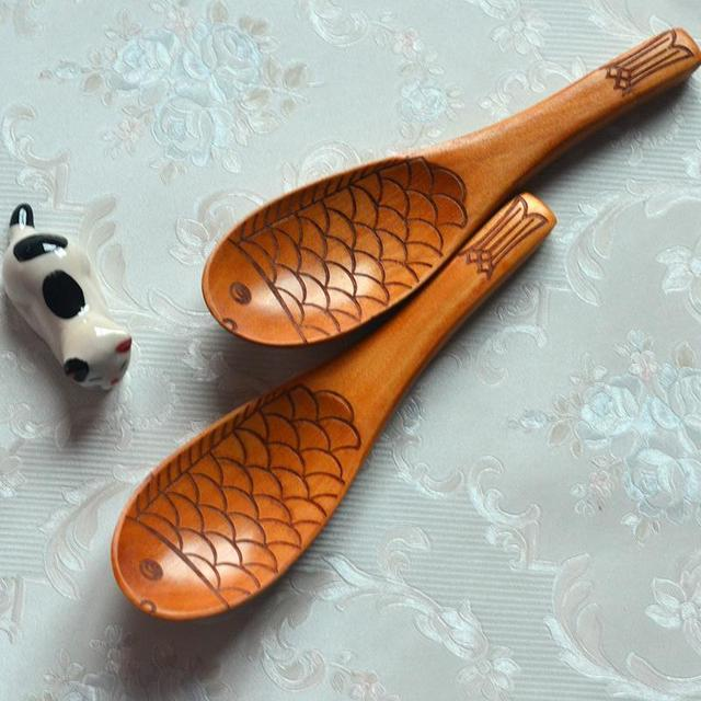 Nature Handmade Wooden Ladle Cute Fish Shaped Wood Rice Spoon Non Stick  Shovel Table Serving