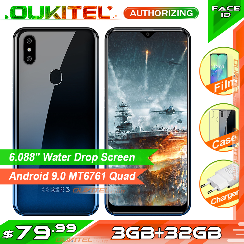 OUKITEL C15 Pro+ 6.088'' 3GB 32GB MT6761 Water Drop Screen 4G Smartphone C15 Pro + Fingerprint Face ID 2.4G/5G WiFi Mobile Phone