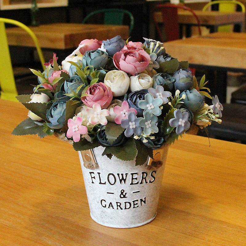 AliExpress & US $16.29 |1Set Variety Rose Small Circle Hand made Iron Bucket Artificial Flowers Vase Wedding Home Shop Decoration Fake Flower 34Color-in Artificial ...