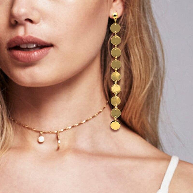 Naomy&ZP Coin Long Earrings Women Boho Ethnic Drop Earrings Fashion Jewelry Statement Gold Color Big Bohemian Dangle Earrings