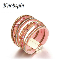 37mm Wide Luxury Rhinestones PU Lether Bracelets And Bangles For Women High Quality Gold Color Alloy