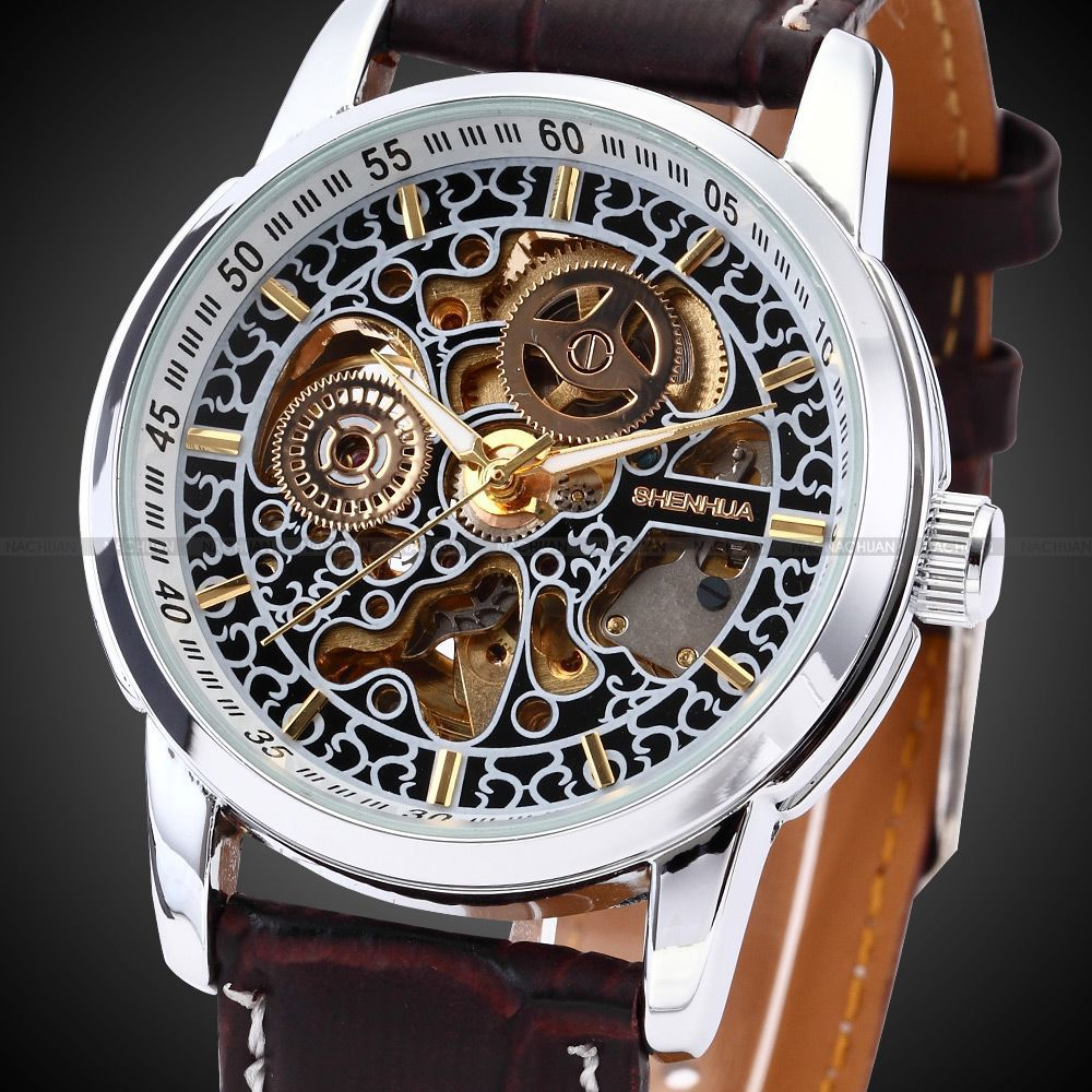 SHENHUA Men Skeleton Automatic Wristwatch Clock male Leather Strap Antique Steampunk Casual Skeleton Mechanical Watch New Unique