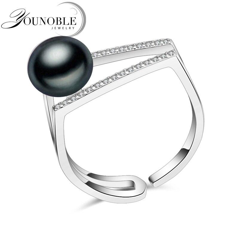 100% réel d'eau douce noir naturel perle anneau pour les femmes, de mariage 925 sterling argent réglable anneau femelle