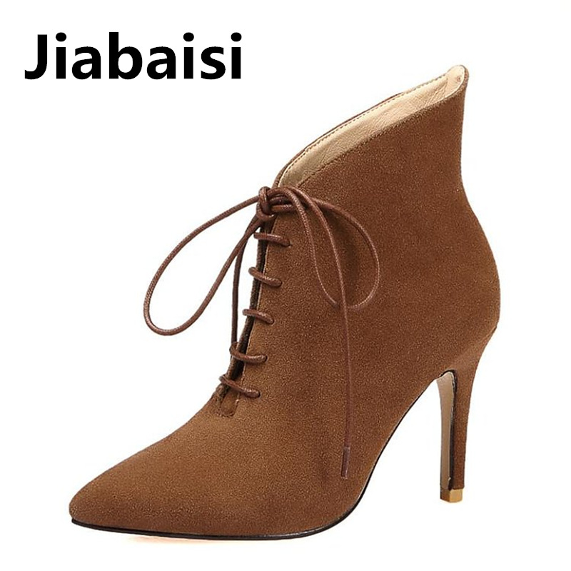 Jiabaisi shoes women pointed toe lace up beveling boots banding strap suede ankle bootie stiletto classics western booties leopard synthetic suede women pointed toe high stiletto heel boots knee high lace up bootie women platform shoes ladies 2016