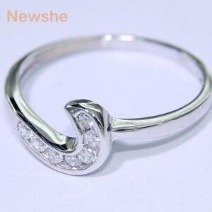 Image 4 - Newshe 2 pçs anel de casamento conjunto 1.5 ct 6 prong ajuste aaa cz sólido 925 prata esterlina noivado anéis na moda jóias para mulher