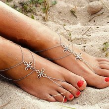 Vintage Chinese Knotting Anklets Barefoot Clover Romantic silver Color Beach Ankle bracelet multi-layers Bohemian Foot Jewelry