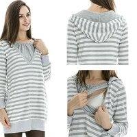 2018 Spring Fashion Casual Striped O Neck Collar Long Sleeve Nursing Top Breastfeeding Clothing For Pregnant Women Clothes