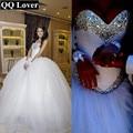 QQ Amante 2017 de Lujo Crystal Tulle del vestido de Bola Vestidos de Boda Brillantes Diamantes de Imitación de La Princesa Plisada Vestido De Noiva