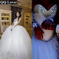 QQ Lover 2017 Luxury Crystal Tulle Ball Gown Wedding Dresses Sparkly Rhinestones Pleated Princess Vestido De Noiva