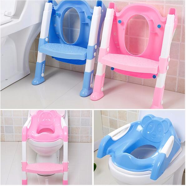 ФОТО New Baby Toddler Potty Toilet Trainer Safety Seat Chair Step with Adjustable Ladder Infant Toilet Training Non-slip Folding Seat