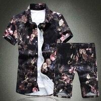 2018 Summer Mens Sets Fashion Casual Men Short Sleeve Flower Shirts and Drawstring Flower Shorts S 5XL