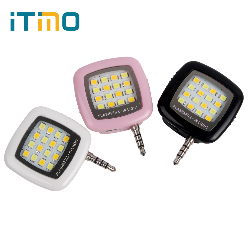 iTimo LED Flash Fill Light 16 Leds For iPhone IOS Android 3.5mm Smartphone Portable Cell Phone Camera Rechargeable MiniiTimo LED Flash Fill Light 16 Leds For iPhone IOS Android 3.5mm Smartphone Portable Cell Phone Camera Rechargeable Mini