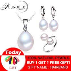 Conjunto de jóias de pérola de água doce real feminino, conjuntos de pérolas naturais 925 prata esterlina presente noivado aniversário da menina qualidade superior