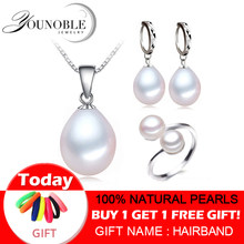 Real freshwater pearl jewelry set women,natural pearl sets 925 sterling silver jewelry girl birthday engagement gift top quality(China)