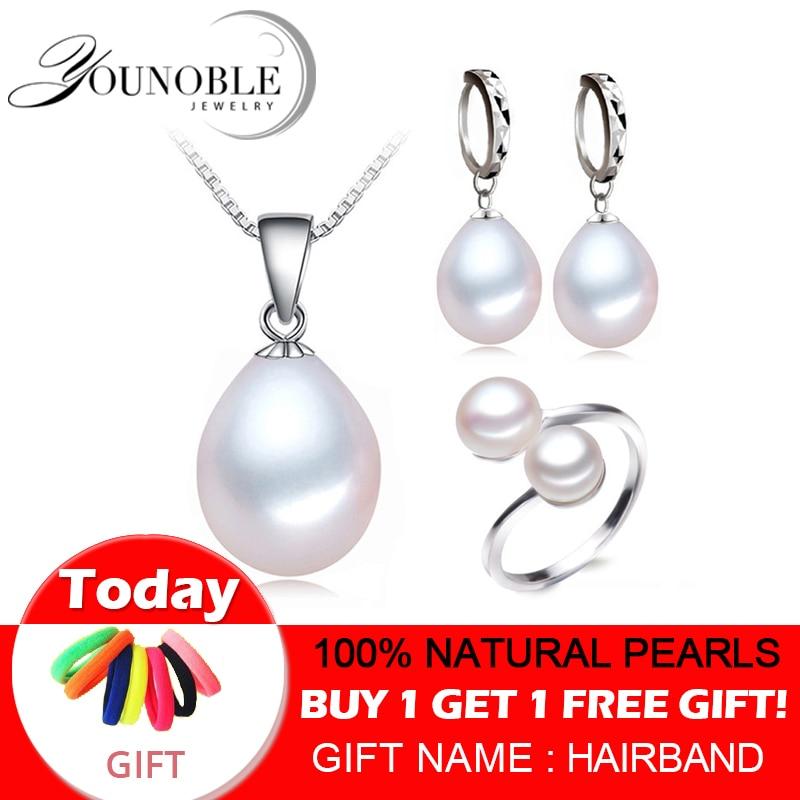Riktigt sötvattenspärla smycken set kvinnor, naturliga pärlset 925 sterling silver smycken tjej födelsedag förlovning gåva topp kvalitet