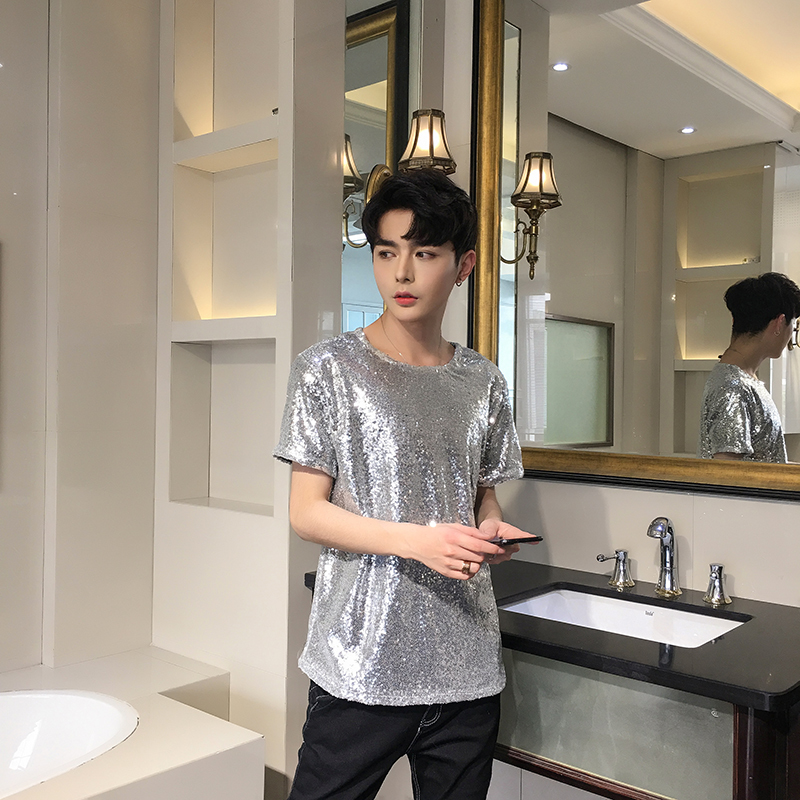 2018 Summer New Men's Round Neck Short-sleeved   T  -  shirt   Casual Self-cultivation Pure Sequin Fashion Teen Fun Clothes   T     Shirt   Man