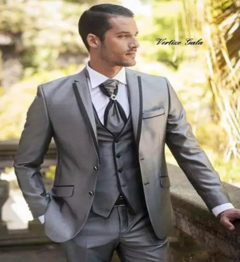 Wedding Prom Grey Satin Fashion Mens Dinner Party Casual Suit (Jacket+Pant+Vest) Groom Tuxedos Groomsmen Blazer Suits For Men-in Suits from Men's Clothing    1