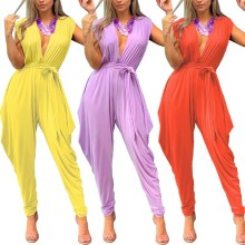 2019 Women Sleeveless Sexy Party Jumpsuit Deep V Neck Casual Playsuit Sashes Ladies Loose Haren Pleated Overalls sleeveless pleated jumpsuit