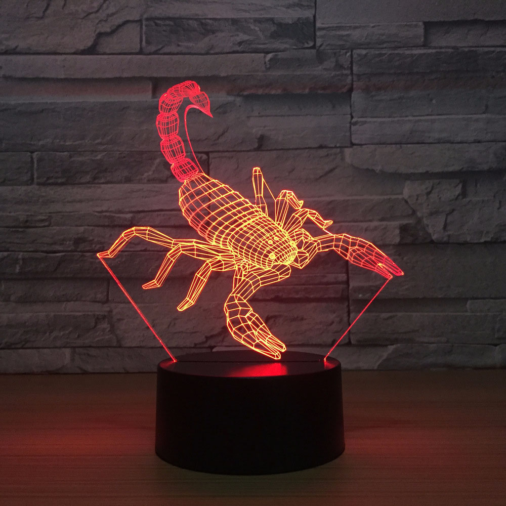 Kids Bedroom Bedside Colorful 3D Led Scorpion Modelling Usb Table Lamp Home Decor Sleep Animal Night Lights Child Gifts Lighting wine cup bottle modelling 3d table lamp led 7 colorful acrylic night light xmas kids gifts sleep lighting bedroom bedside decor