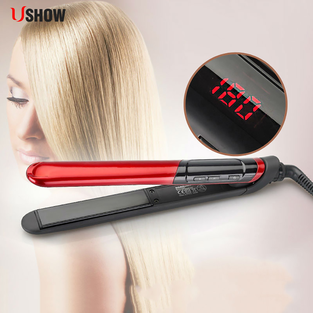 USHOW Hair Straightener LCD Display Titanium Plates Flat Iron Straightening Irons Styling Tools Professional Hair Straightener plus size color block multi strap tankini