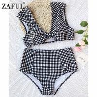 ZAFUL Bikini New Checked High Waisted Tie Front Plaid Bikini High Rise Cut Bikini Checkered Bathing