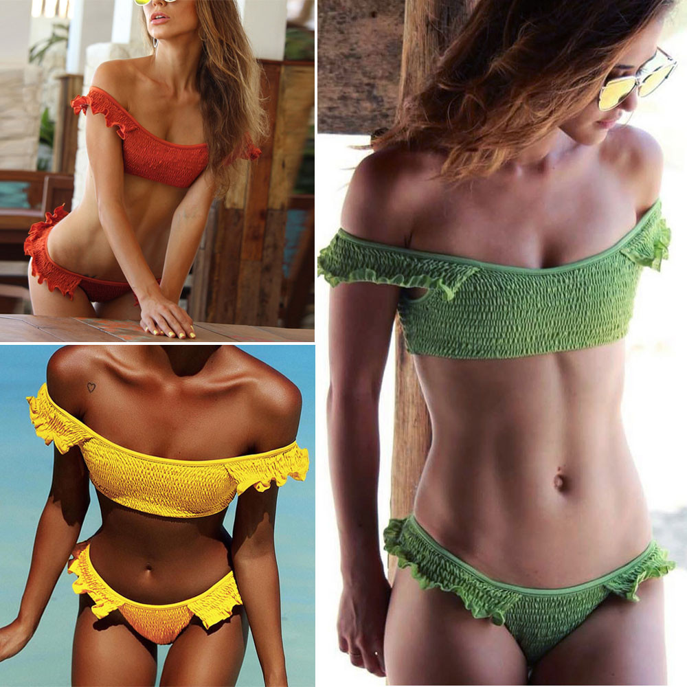 Women Sexy Folds Ruffles Bikini Set Push-Up Padded Swimwear Swimsuit Beachwear Bathing Suit Bikini Swiming #2DQ