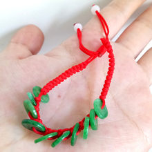 Браслет ручной работы из красной струны 100% натуральный зеленый