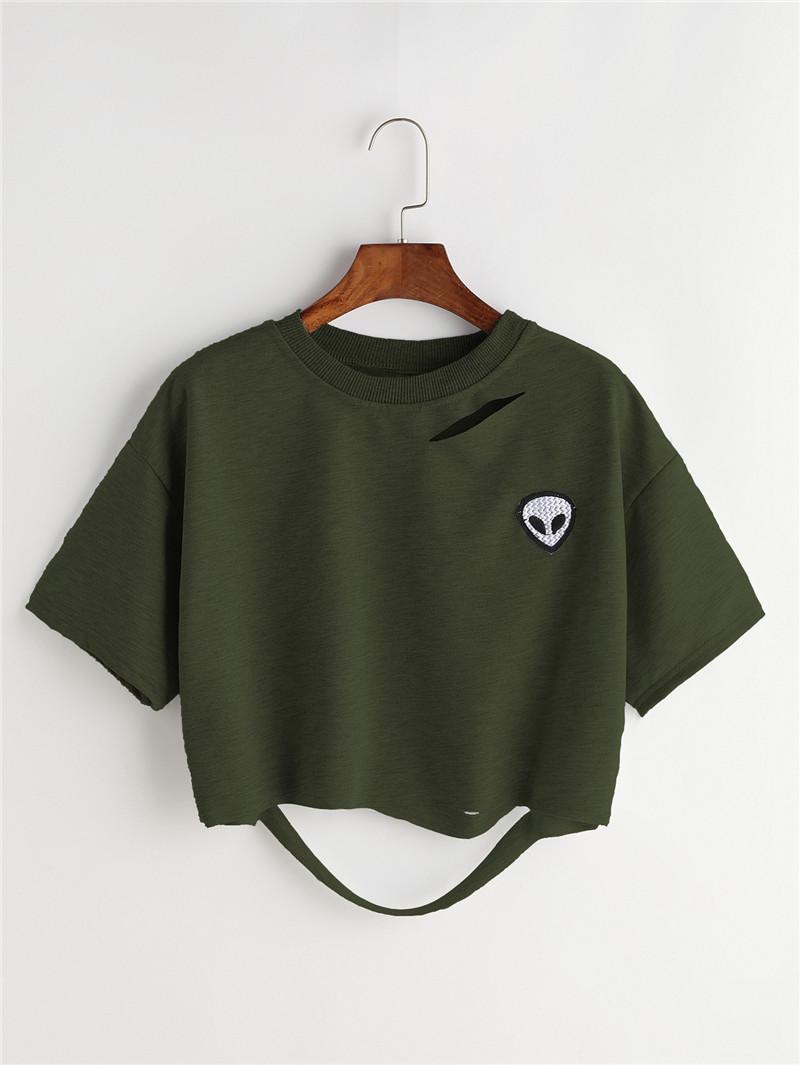 HTB1fdsHQFXXXXXyXVXXq6xXFXXXD - Women Summer T-shirts Alien Embroidery PTC 103