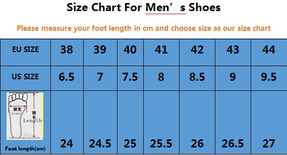 size chart for mens shoes